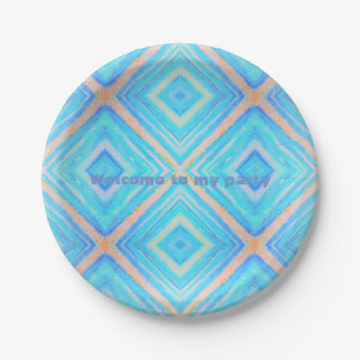 Paper plate blue orange 7 inch paper plate