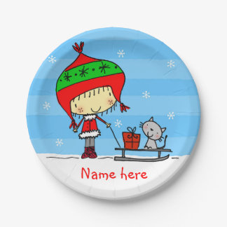 ♥ PAPER PLATE ♥ cute christmas girl cat snow name