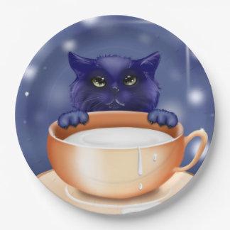 Paper plate cute kitty  cat blue 9 inch paper plate