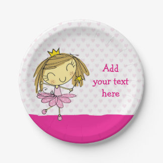 ♥ PAPER PLATE ♥ cute pink princess ballet girl 7 Inch Paper Plate