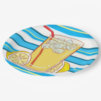 Paper plate Lemonade  blue yellow white striped 9 Inch Paper Plate