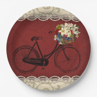 Paper plate   Merlot red ivory bicycle bike