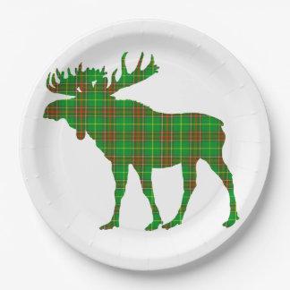 Paper plate   Newfoundland Tartan plaid moose