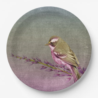 Paper plate   purple pretty song bird 9 inch paper plate