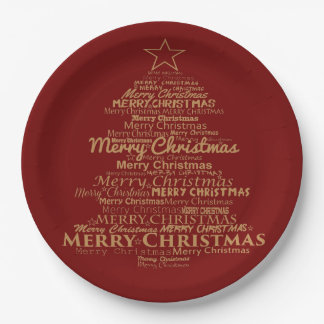 Paper plate  red gold Christmas 9 Inch Paper Plate