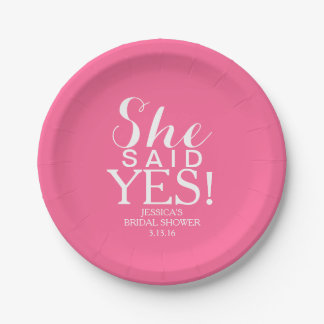 Paper Plate - She Said Yes 7 Inch Paper Plate