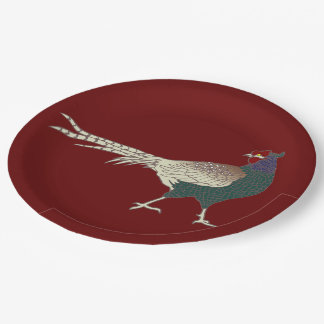 Paper plate vintage retro Pheasant bird Merlot red 9 Inch Paper Plate