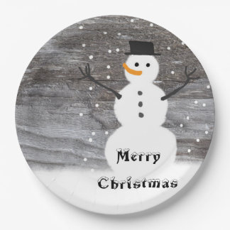 Paper plate white  Rustic  snowman merry Christmas 9 Inch Paper Plate