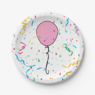Paper plate with pink balloon and confetti