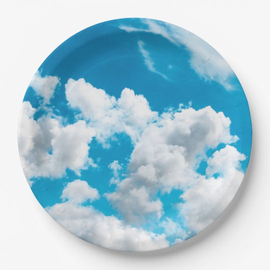 Paper plate with the motif of the sky