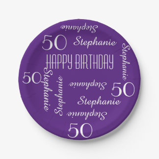 Paper Plates, 50th Birthday Party Repeating Names 7 Inch Paper Plate