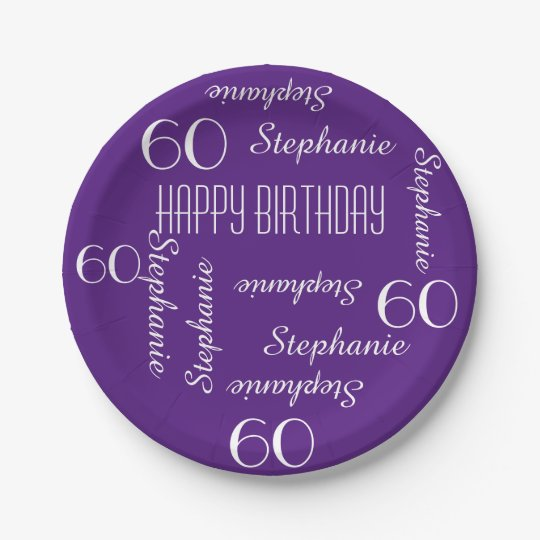 Paper Plates, 60th Birthday Party Repeating Names Paper
