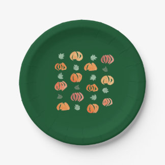 Paper plates 7'' with pumpkins and leaves 7 inch paper plate