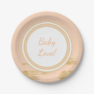 """Paper Plates """"Classic Gold/Pink"""" 7 Inch Paper Plate"""