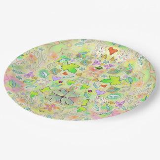 Paper Plates - Leaf Flower Heart Design