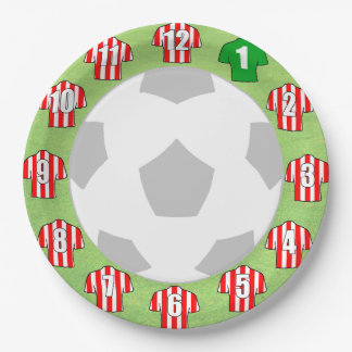 Paper Plates - Red & White Striped Sport Shirts