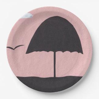 Paper Plates with Beach Umbrella Design