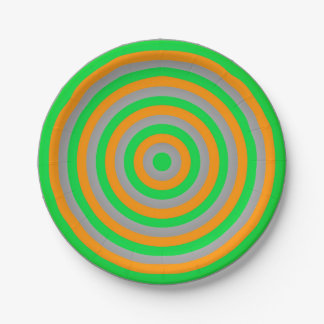 Paper Plates with Concentric Circles Design 7 Inch Paper Plate