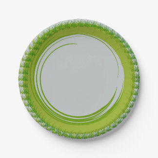 Paper Plates with Natural Green Border 7 Inch Paper Plate