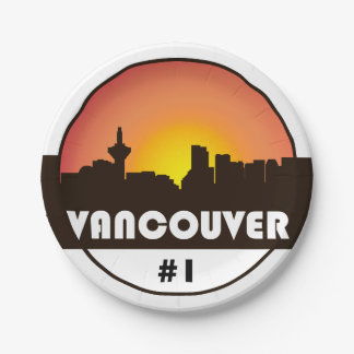 Paper plates with Vancouver Skyline print