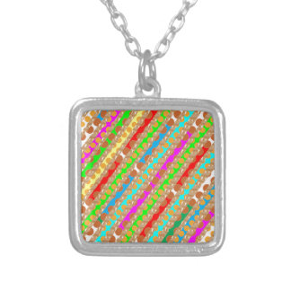 Paper Punch Strips PATCH ART by Navin Joshi Square Pendant Necklace
