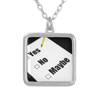 Paper questionnaire yes no maybe pencil silver plated necklace