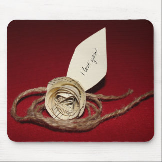 Paper Rose, Twine & I Love You on Red Background Mouse Mat