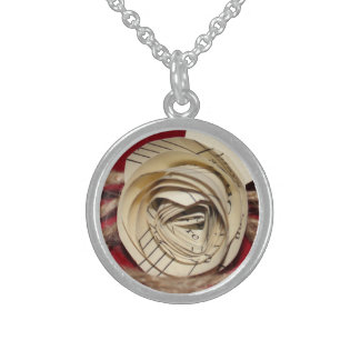 Paper Rose with Twine on Red Background Round Pendant Necklace