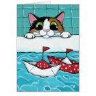Paper Sail Boats - Calico Cat Art Card