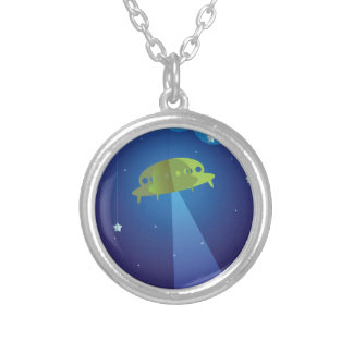 Paper theater - UFO Silver Plated Necklace