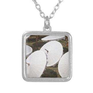 paper umbrella square pendant necklace