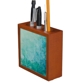 Paper With Blue, Green, And Black Paint Abstract Desk Organiser