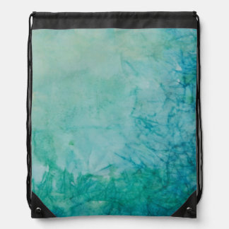 Paper With Blue, Green, And Black Paint Abstract Drawstring Bag
