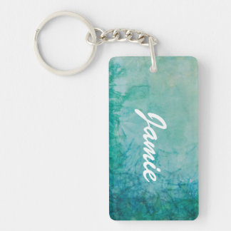 Paper With Blue, Green, And Black Paint Abstract Key Ring