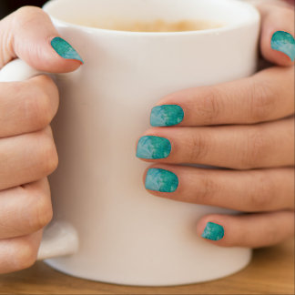 Paper With Blue, Green, And Black Paint Abstract Minx Nail Art