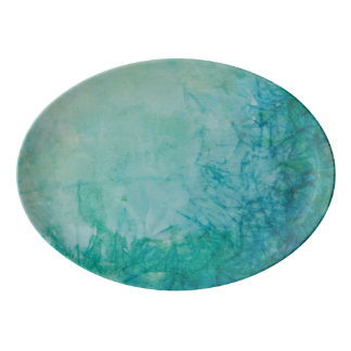 Paper With Blue, Green, And Black Paint Abstract Porcelain Serving Platter