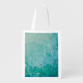 Paper With Blue, Green, And Black Paint Abstract Reusable Grocery Bag