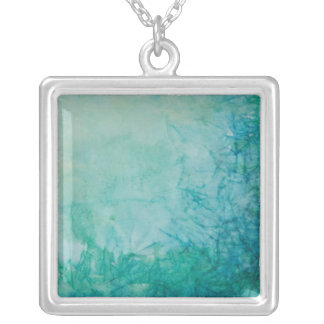 Paper With Blue, Green, And Black Paint Abstract Silver Plated Necklace