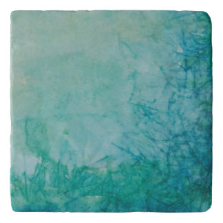 Paper With Blue, Green, And Black Paint Abstract Trivet