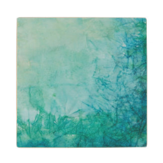 Paper With Blue, Green, And Black Paint Abstract Wood Coaster