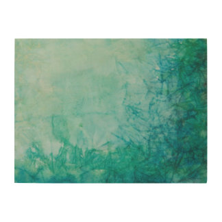 Paper With Blue, Green, And Black Paint Abstract Wood Wall Art