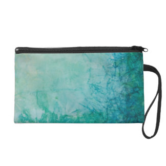 Paper With Blue, Green, And Black Paint Abstract Wristlet
