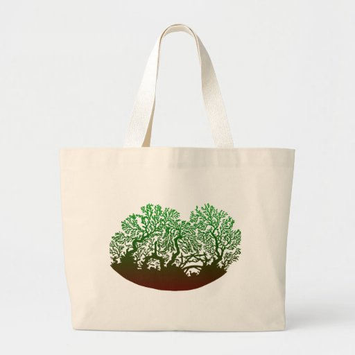 Papercutting of trees silhouette of trees canvas bag