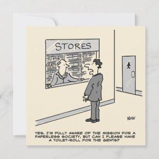 Paperless Society Cartoon Card