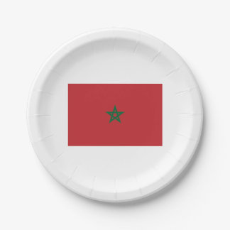 Papers placard (s) Moroccan flag. Paper Plate