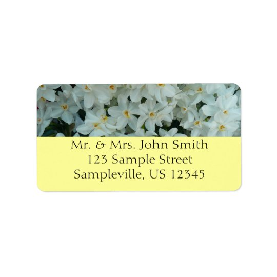Paperwhite Narcissus Delicate White Flowers Address Label