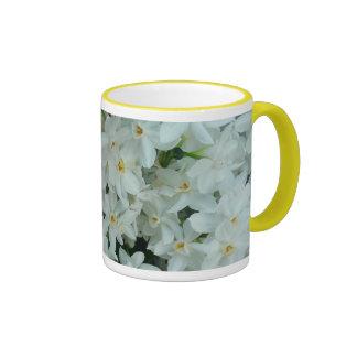 Paperwhite Narcissus Delicate White Flowers Ringer Mug