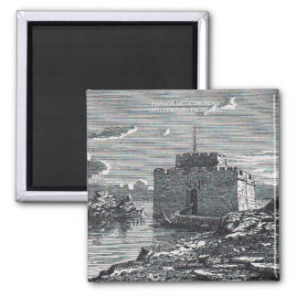 Paphos Cyprus medieval fort 19th century engraving Magnet