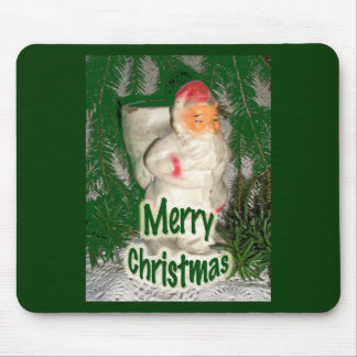 Papier Mache White Coated Santa Holiday Items Mouse Pad
