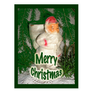Papier Mache White Coated Santa Holiday Items Postcard